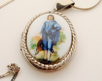 Vintage Blue Boy locket Necklace , Photo Locket, Locket jewelry,Vintage locket,Victorian inspired,gifts for her