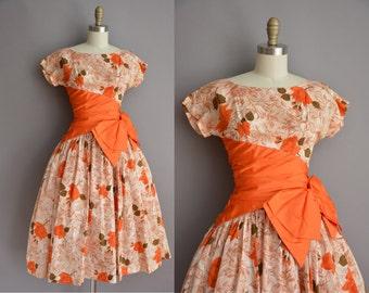 50s orange rose bombshell full skirt vintage dress / vintage 1950s dress