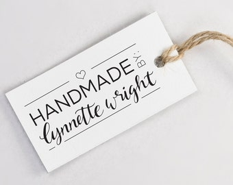 Custom Hand Lettered Name Made By Stamp - Calligraphy Name Stamp with Handle