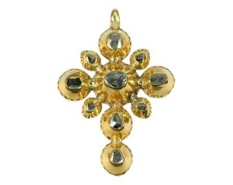 18K Yellow gold 18th Century Georgian cross with rose cut diamonds ca.1790 Religious Jewelry