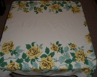 Vintage Kitchen Tablecloth.  Yellow Roses.