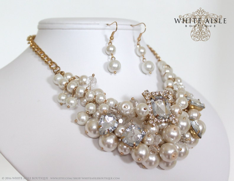 Pearl Bridal Jewelry Set Statement Necklace Chunky Wedding Crystal Vintage Style