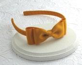 Mustard Gold Bow Headband, Girls Headband, Mustard Hair Bow on Hard Headband, Bow Headband, Toddler Headband