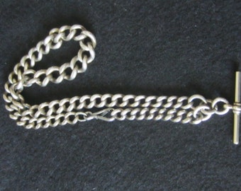 Sterling Silver 1897 Watch Chain Graduated Links English Hallmarks 66 Grams