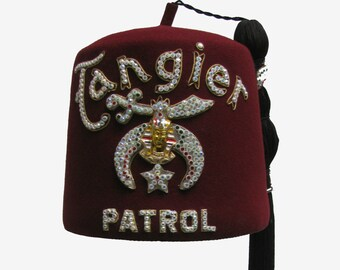 Vintage Shriners Fez With Tassel Tangier Patrol Masonic Fraternal Turkish Hat with Shriner Pin Size 7 1/2 Fits Sz XLarge