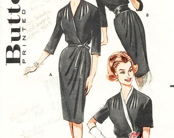 SZ 14/Bust 34 - Vintage 1960s Dress Sewing Pattern - Butterick 9203 - Misses' Classic Wrap Dress in Three Waistline Variations