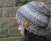 HAT knitted chunky - Big softie hat in Coffee ripple shade, winter hat beige oatmeal vegan, womens gift, knitwear UK