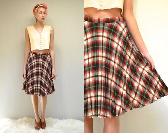 50s Wool Skirt  //  Pleated Plaid Skirt  //   THE ARMAGH