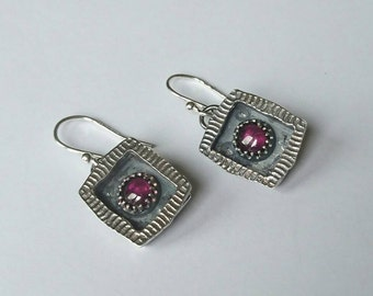 Sterling silver handmade frame earrings with rhodolite garnet earrings, hallmarked in Edinburgh