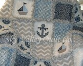 Prefringed cut Rag Quilt KIT -  blue and gray nautical sailboats