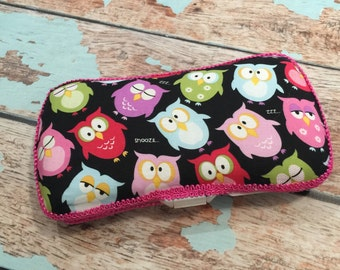 Owl Pink and Black Travel Wipe Case Baby Wipe Case Ready to Ship