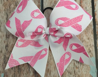 Large  Breast Cancer awareness Cheer bow Read to ship