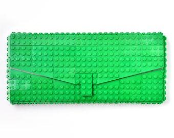 Green clutch purse made with LEGO® bricks FREE SHIPPING purse handbag legobag trending fashion