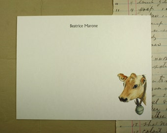 Cow Stationery. Personalized Custom Flat Notecard Stationery. Thank You, Personalize Watercolor Print, Set of 10.