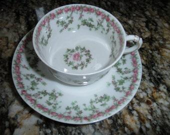 Delicate Antique Porcelain Cup and Saucer, Haviland Limoges, Pink Roses