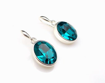 Bridal earrings wedding bridesmaid gift Swarovski blue zircon teal oval fancy rhinestone crystal drop cubic zirconia rhodium silver hook