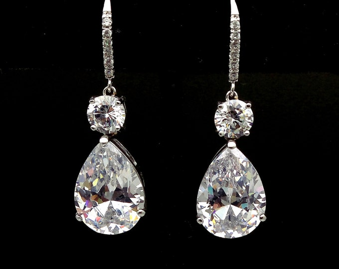 bridal wedding jewelry bridesmaid gift party christmas prom rhodium clear white teardrop micropave cubic zirconia leverback hook earrings