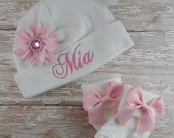 Baby girl hat, Baby hospital hat, Pink, Newborn baby socks, Personalized, baby hat, baby, coming home, take home, bring home, hat, beanie