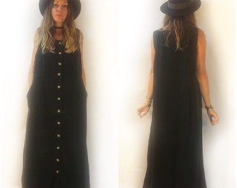 Vintage 90s forest green midi maxi corduroy button front pinafore jumper dress // large // fall festival retro grunge boho cottage chic