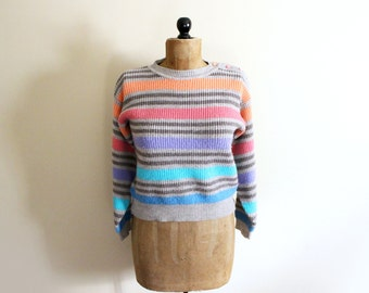 vintage sweater 80s rainbow striped gitano grey neon 1980s shoulder button retro womens clothing size small s