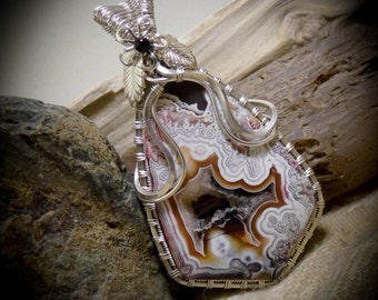 Mexican Crazy Lace Agate Silver Wire Wrapped Gemstone Pendant