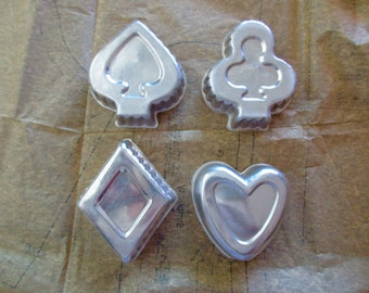 Collection of Vintage Aluminum Card Suits COOKIE CUTTERS -heart-spade-diamond-club