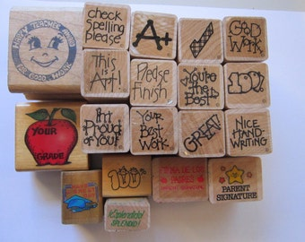 19 TEACHER rubber stamps - teacher stamps, school stamps, grading stamps
