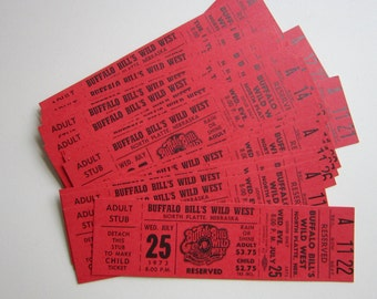 24 vintage tickets - BUFFALO BiLL'S WiLD WEST show - circa 1970s - red