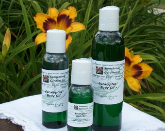 Eucalyptus Body Oil, all natural, vegan friendly, handcrafted with therapeutic essential oils, 3 convenient sizes for sample, travel or home