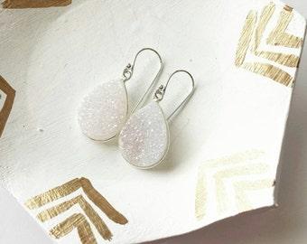 Druzy teardrop earrings, druzy earrings, wedding or everyday jewelry