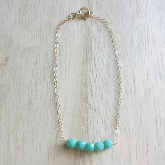 Sweet mint bracelet, 14k gold filled, delicate modern jewelry