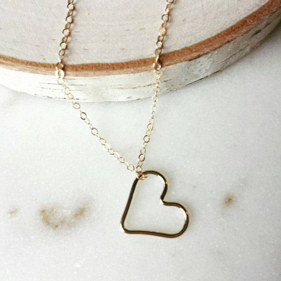 Gold Filled Open Heart Necklace