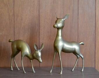 vintage large brass deer figurines