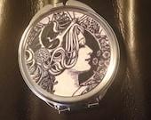 Art Deco image Compact Mirror -Handmade-FREE SHIPPING-