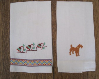 Lot of 2 Vintage Embroidered Linen Hand Towels Guest Towels Tea Towels Dog Flowers