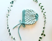 Two-tone Bubbles Bonnet in soft cotton yarn, unisex, size newborn to 4T - made to order