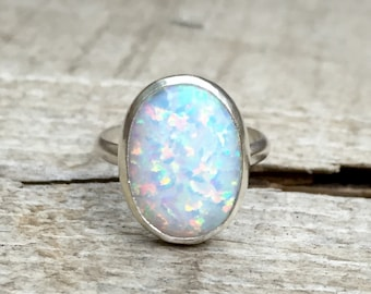 Statement Oval Simulated Opal Elegant Birthstone Ring in Sterling Silver