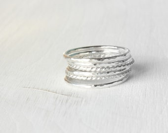 GET 1 FREE WITH Six Stacking silver rings / hammered and twisted wire stacking rings in shiny silver / silver skinny stacking rings Handmade