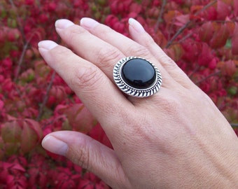 Black Onyx gemstone ring, Boho Bohemian gemstone ring, adjustable ring, large stone gypsy ring