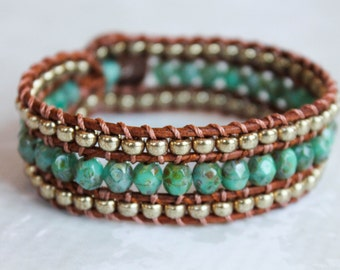 Turquoise Green Picasso and Gold Beaded Wrap Bracelet, 3 Row Cuff, Country Boho, Boho Chic, Leather Jewelry, Button Bracelet, Wrap Bracelet