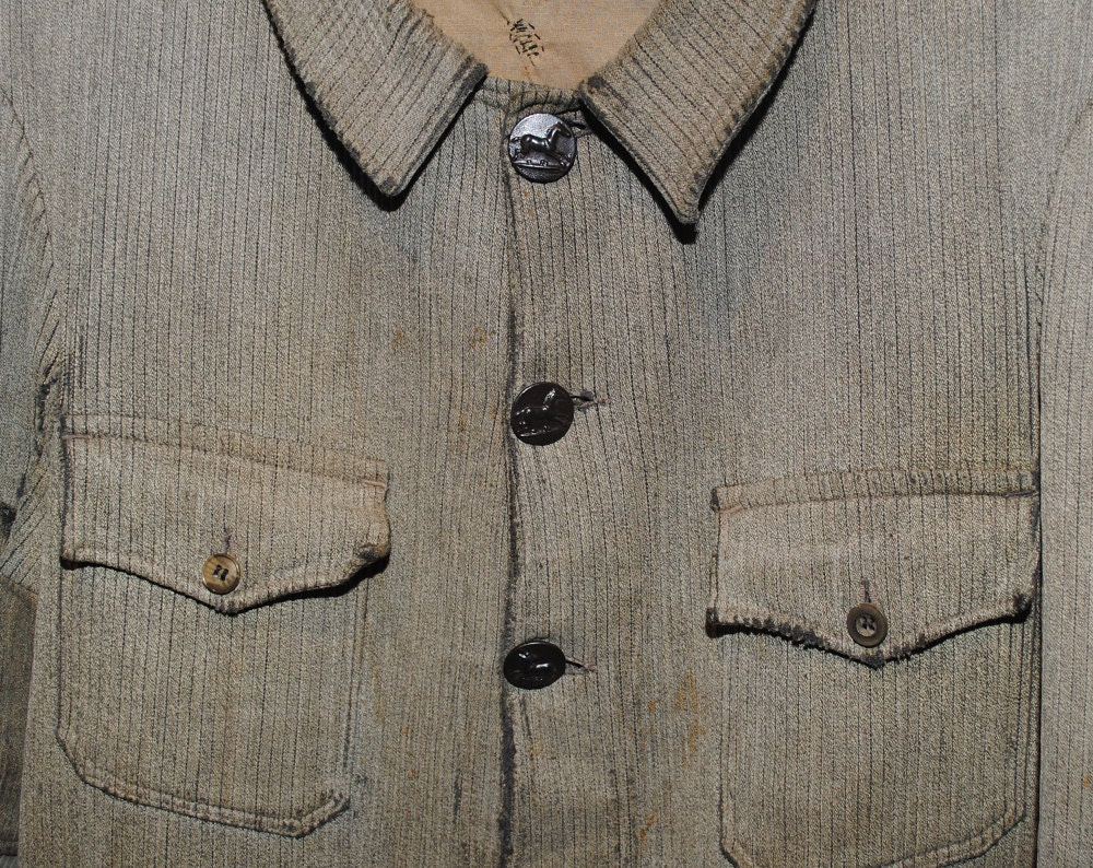 Vintage Handmade Distressed Grey Button Down Hunting Coat Made in France - Large
