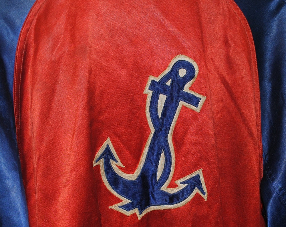 Vintage Red & Blue Anchor WWII Souvenir Satin Sutcliffe Co. Sporting Goods Jacket Made in USA - Medium