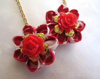 Red Tea Roses Kanzashi Flower Earrings MountainMusings
