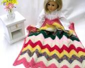 Crocheted Doll Blanket - American Girl Doll - Chevron - Sasha - Gotz - Lap Blanket - Comforter - Picnic Blanket - Pink Green Ivory Yellow
