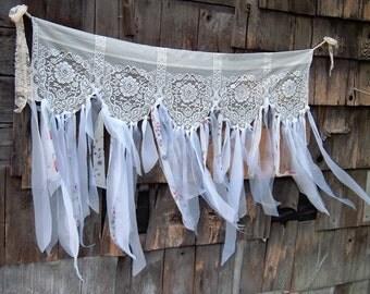 Wedding, Springtime, Winter Gypsy Garland, Banner, Valence, Boho, White, Flowers, 56 x 42 Inches