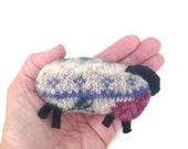 Pocket Hand Warmers Microwave Rice Bags Heating Pads Felted Sheep Up Cycled Sweater Wool Sheep Fair Isle Sheep Beige Knit