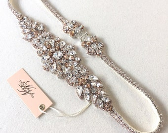 Rose Gold Dainty Crystal Bridal Belt- Art Deco Crystal Bridal Belt- Swarovski Crystal Bridal Sash- Modern Bridal Belt