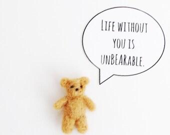 Tiny Bear, Needle Felted Bear, Valentine's Day, Valentine for kids, Valentine for boyfriend, Tiny Valentine