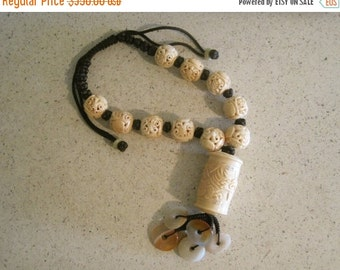 20% OFF ON SALE Carved Cow Bone Hand Knotted Necklace