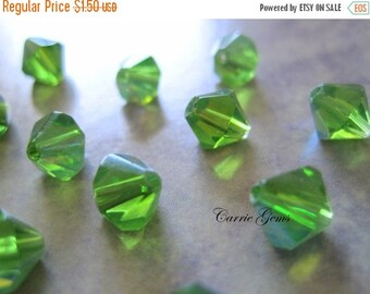 20% OFF ON SALE Green Crystal Glass Bicone Shape Ab 8mm Beads, 30 pcs
